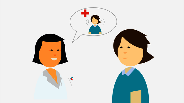 Illustration of audiologist speaking with tinnitus patient with red cross icon above
