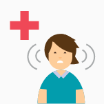 Illustrated icon of tinnitus patient with red cross symbol above